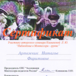 Сертификат 2 Артемчик